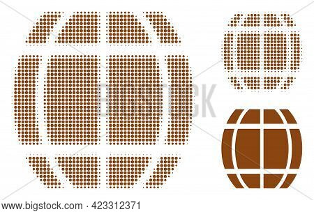 Barrel Halftone Dotted Icon. Halftone Pattern Contains Circle Points. Vector Illustration Of Barrel