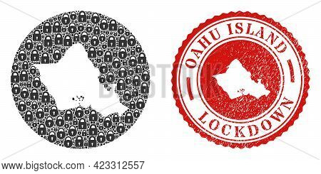 Vector Mosaic Oahu Island Map Of Locks And Grunge Lockdown Seal Stamp. Mosaic Geographic Oahu Island