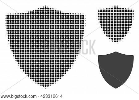 Protection Shield Halftone Dotted Icon. Halftone Pattern Contains Circle Pixels. Vector Illustration