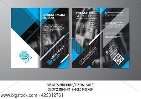 Business Brochure Or Flyer Design. Bi-fold Leaflet Template. Bi-fold Brochure Or Invitation Mockup V