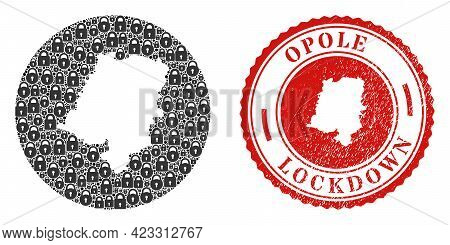 Vector Collage Opole Voivodeship Map Of Locks And Grunge Lockdown Seal. Mosaic Geographic Opole Voiv