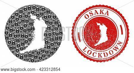 Vector Mosaic Osaka Prefecture Map Of Locks And Grunge Lockdown Stamp. Mosaic Geographic Osaka Prefe