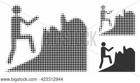 Climbing Person Halftone Dotted Icon. Halftone Array Contains Circle Elements. Vector Illustration O
