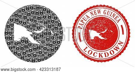 Vector Mosaic Papua New Guinea Map Of Locks And Grunge Lockdown Stamp. Mosaic Geographic Papua New G