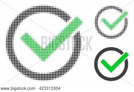 Accept Tick Halftone Dotted Icon. Halftone Array Contains Round Points. Vector Illustration Of Accep