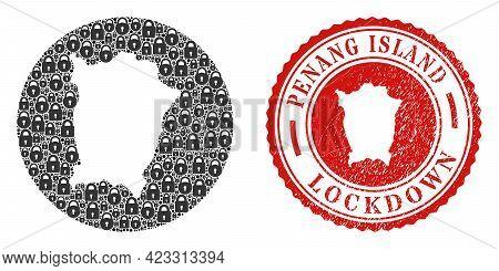 Vector Collage Penang Island Map Of Locks And Grunge Lockdown Seal. Mosaic Geographic Penang Island
