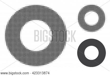 Donut Halftone Dotted Icon. Halftone Pattern Contains Round Elements. Vector Illustration Of Donut I