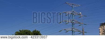 Electricity Concept, Close Up High Voltage Power Lines Station. High Voltage Electric Transmission P