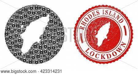 Vector Mosaic Rhodes Island Map Of Locks And Grunge Lockdown Seal Stamp. Mosaic Geographic Rhodes Is