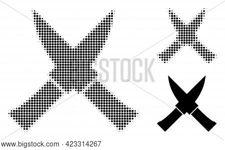 Crossing Knives Halftone Dotted Icon. Halftone Array Contains Round Elements. Vector Illustration Of