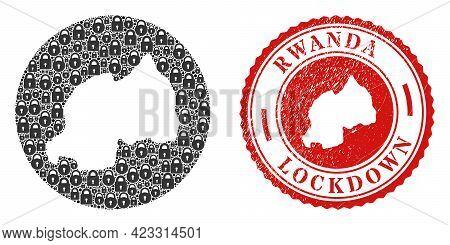 Vector Mosaic Rwanda Map Of Locks And Grunge Lockdown Seal Stamp. Mosaic Geographic Rwanda Map Creat