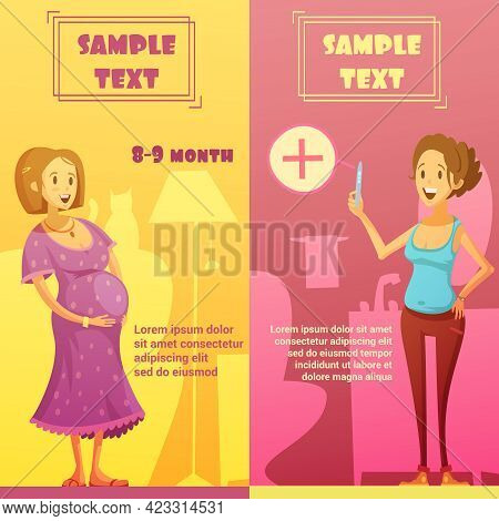 Pregnancy Last Quarter And Strip Test 2 Vertical Banners Set With Text Sample Abstract Isolated Vect