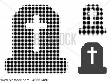 Cemetery Halftone Dotted Icon. Halftone Array Contains Circle Pixels. Vector Illustration Of Cemeter