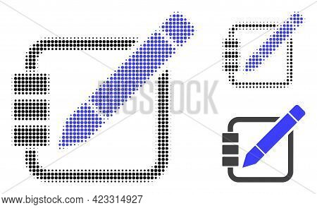 Edit Records Halftone Dotted Icon. Halftone Pattern Contains Round Dots. Vector Illustration Of Edit