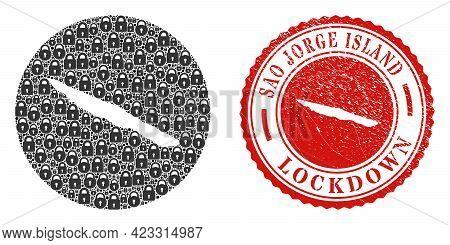 Vector Collage Sao Jorge Island Map Of Locks And Grunge Lockdown Seal. Mosaic Geographic Sao Jorge I