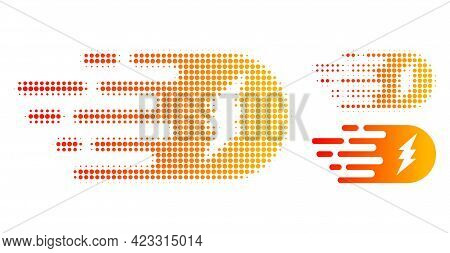 Electric Strike Halftone Dotted Icon. Halftone Pattern Contains Circle Pixels. Vector Illustration O