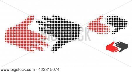 Fair Trade Handshake Halftone Dotted Icon. Halftone Pattern Contains Circle Points. Vector Illustrat