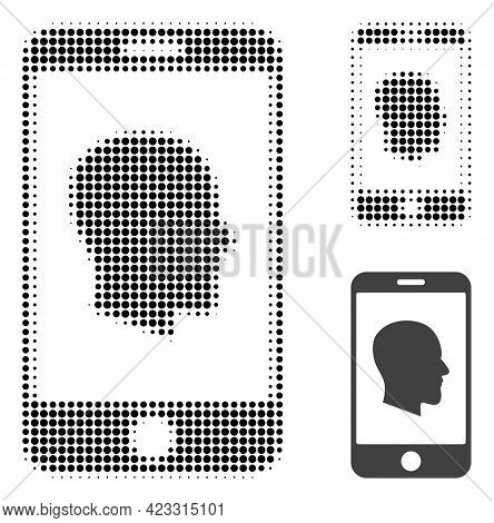 Cellphone Profile Halftone Dotted Icon. Halftone Array Contains Round Pixels. Vector Illustration Of