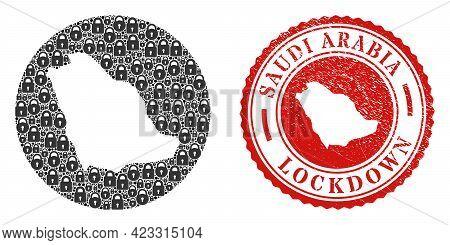 Vector Mosaic Saudi Arabia Map Of Locks And Grunge Lockdown Seal Stamp. Mosaic Geographic Saudi Arab