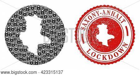 Vector Mosaic Saxony-anhalt Land Map Of Locks And Grunge Lockdown Seal Stamp. Mosaic Geographic Saxo