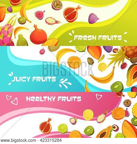 Healthy Fresh Fruits 3 Colorful Appetizing Horizontal Banners Set With Orange Banana And Pineapple A