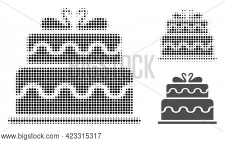 Marriage Cake Halftone Dotted Icon. Halftone Array Contains Circle Points. Vector Illustration Of Ma