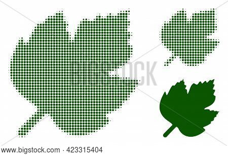 Grape Leaf Halftone Dotted Icon. Halftone Pattern Contains Round Pixels. Vector Illustration Of Grap