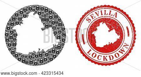 Vector Mosaic Sevilla Province Map Of Locks And Grunge Lockdown Seal Stamp. Mosaic Geographic Sevill
