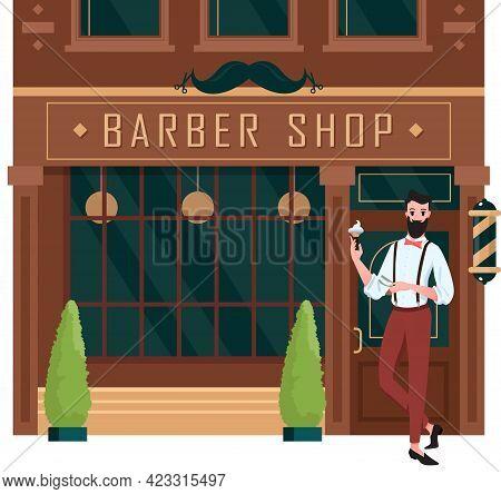 Barber Shop Open, Street Building Brown Facade Of Retro Barbershop With Man Barber
