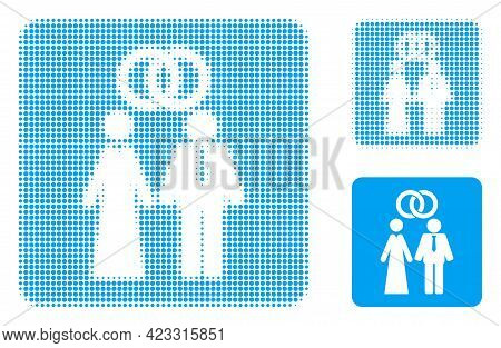 Marriage Persons Halftone Dotted Icon. Halftone Pattern Contains Circle Points. Vector Illustration