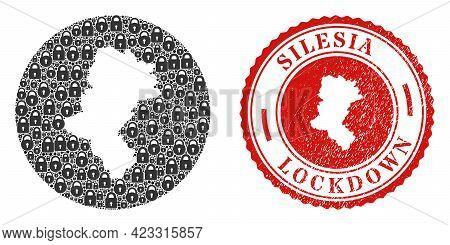 Vector Mosaic Silesian Voivodeship Map Of Locks And Grunge Lockdown Stamp. Mosaic Geographic Silesia