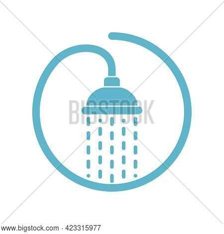 Shower Head With Trickles Water. Sign Douche In The Circle Isolated On White Background. Shower Or B