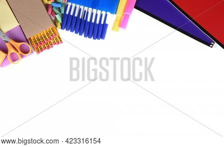 School Supplies: Still life on white of assorted school supplies with copy space.