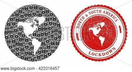 Vector Mosaic South And North America Map Of Locks And Grunge Lockdown Seal Stamp. Mosaic Geographic