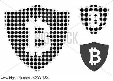 Bitcoin Protection Halftone Dotted Icon. Halftone Array Contains Circle Points. Vector Illustration