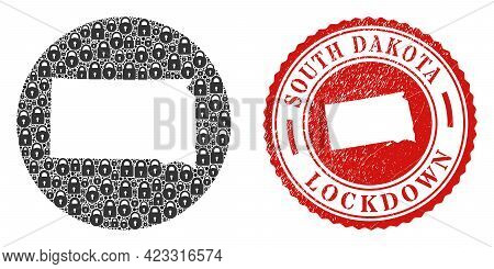 Vector Collage South Dakota State Map Of Locks And Grunge Lockdown Stamp. Mosaic Geographic South Da