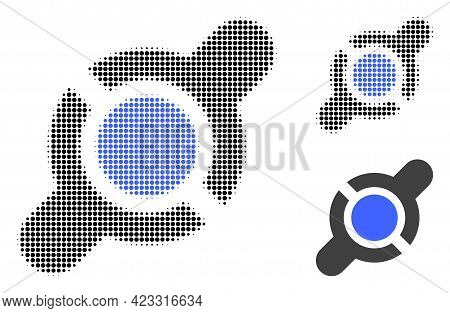 Joint Connection Halftone Dotted Icon. Halftone Pattern Contains Round Elements. Vector Illustration