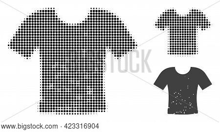 Dirty T-shirt Halftone Dotted Icon. Halftone Array Contains Circle Elements. Vector Illustration Of
