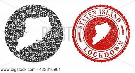 Vector Mosaic Staten Island Map Of Locks And Grunge Lockdown Seal Stamp. Mosaic Geographic Staten Is