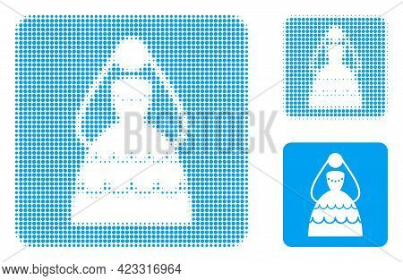 Bride Halftone Dotted Icon. Halftone Array Contains Circle Points. Vector Illustration Of Bride Icon