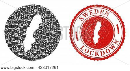 Vector Mosaic Sweden Map Of Locks And Grunge Lockdown Seal. Mosaic Geographic Sweden Map Designed As