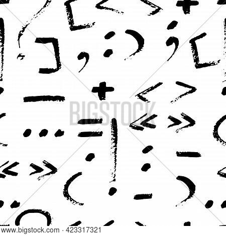 Vector Seamless Pattern With Hand Drawn Punctuation Marks On White Background. Grungy Illustration F
