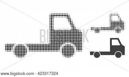 Delivery Car Chassi Halftone Dotted Icon. Halftone Array Contains Round Points. Vector Illustration
