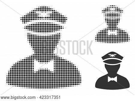 Flying Attendant Halftone Dotted Icon. Halftone Pattern Contains Round Pixels. Vector Illustration O