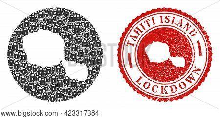 Vector Mosaic Tahiti Island Map Of Locks And Grunge Lockdown Stamp. Mosaic Geographic Tahiti Island