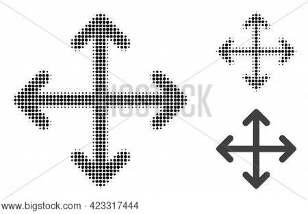Expand Arrows Halftone Dotted Icon. Halftone Array Contains Round Pixels. Vector Illustration Of Exp