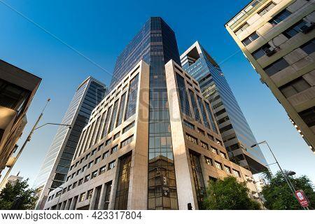 Santiago De Chile, Region Metropolitana, Chile, South America - February 12, 2017:  Modern Office Bu