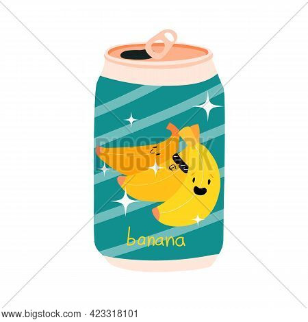 Can Of Soda With Banana On The Label. Aluminum Can Of Lemonade. Kawaii Cute Fruits. Stock Vector Ill