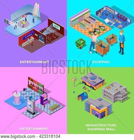 Shopping Mall 2x2 Icons Set With Different Departments Cinema Cafe Isolated Isometric Vector Illustr