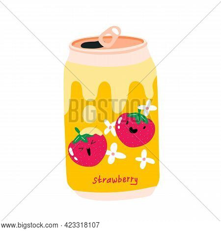 Can Of Soda With Strawberries With Cream On The Label. Aluminum Can Of Lemonade. Kawaii Cute Fruits.